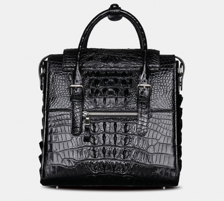 Crocodile Briefcase Shoulder Cross-body Laptop Business Bag for Men-Back