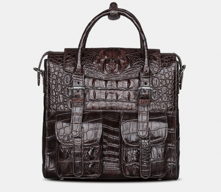 Crocodile Briefcase Shoulder Cross-body Laptop Business Bag for Men-Brown
