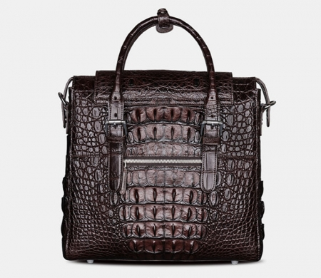 Crocodile Briefcase Shoulder Cross-body Laptop Business Bag for Men-Brown-Back