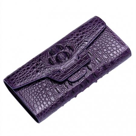 Crocodile Leather Clutch Long Purse Leather Wallet for Women-1