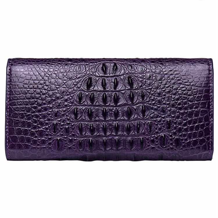 Crocodile Leather Clutch Long Purse Leather Wallet for Women-Back