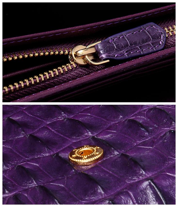 Crocodile Leather Clutch Long Purse Leather Wallet for Women-Details