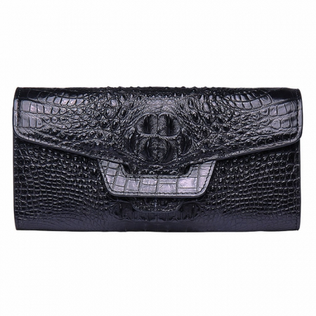 Crocodile Leather Clutch Long Purse Leather Wallet for Women-Head Skin-Black