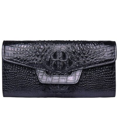 Crocodile Leather Clutch Long Purse Leather Wallet for Women-Head Skin-Black Color