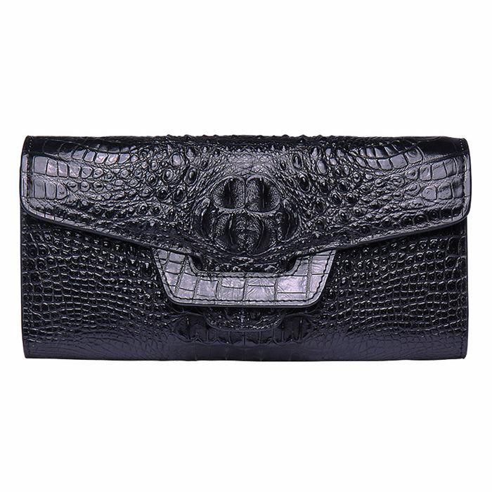 Crocodile Leather Clutch Long Purse Leather Wallet for Women-Head Skin-Black
