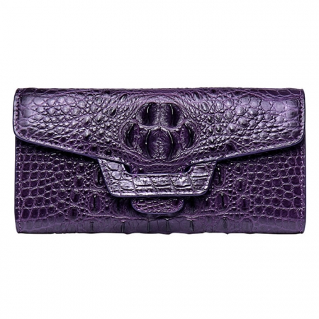 Crocodile Leather Clutch Long Purse Leather Wallet for Women-Head Skin-Purple