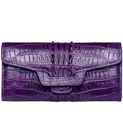 Crocodile Leather Clutch Long Purse Leather Wallet for Women-Head Skin-Purple Color