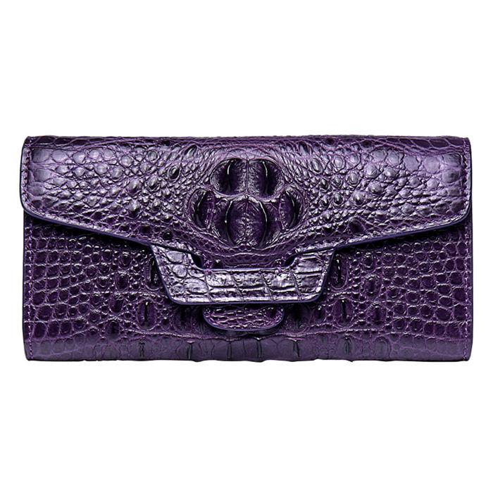 Crocodile Leather Clutch Long Purse Leather Wallet for Women-Head Skin-Purple