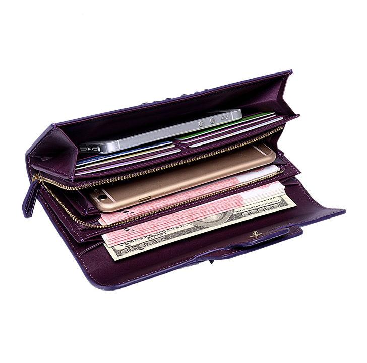 Crocodile Leather Clutch Long Purse Leather Wallet for Women-Inside