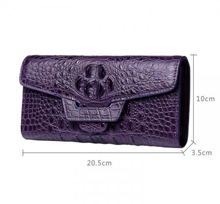 Crocodile Leather Clutch Long Purse Leather Wallet for Women-Size