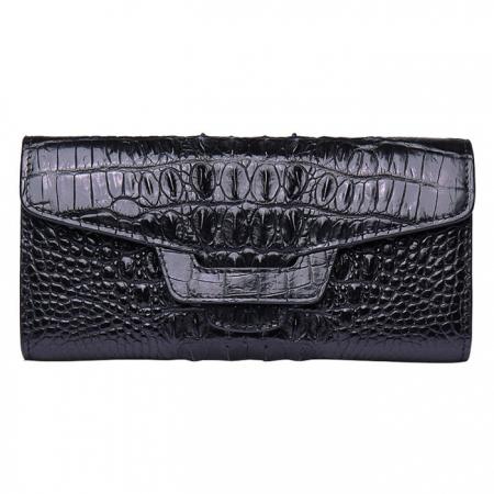 Crocodile Leather Clutch Long Purse Leather Wallet for Women-Tail Skin-Black