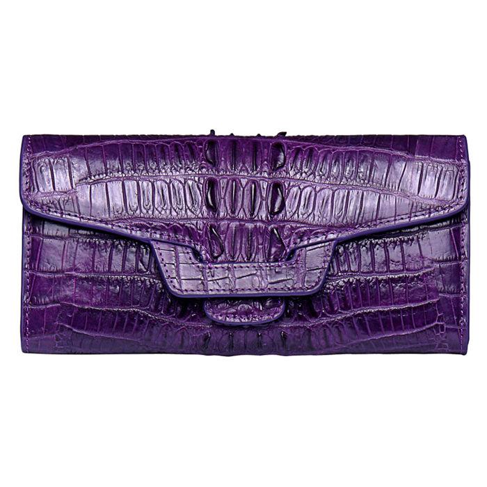 Crocodile Leather Clutch Long Purse Leather Wallet for Women-Tail Skin-Purple