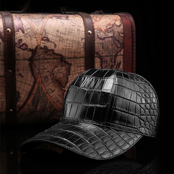Crocodile Skin Hat-Black