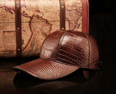 Crocodile Skin Hat-Brown