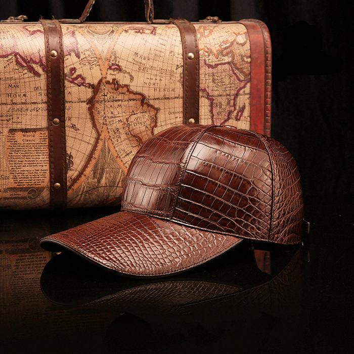 Crocodile Skin Hat-Brown