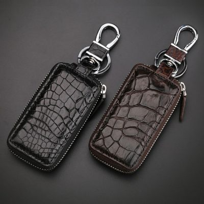 Crocodile and Alligator Leather Car Key Holder Zipper Case Wallet Keychain Bag
