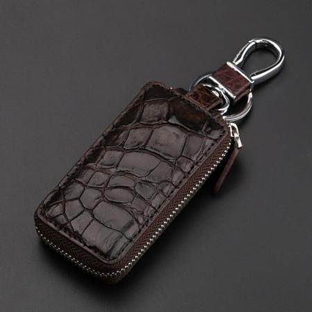 Crocodile and Alligator Leather Car Key Holder Zipper Case Wallet Keychain Bag-Brown