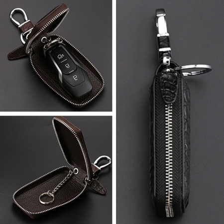 Crocodile and Alligator Leather Car Key Holder Zipper Case Wallet Keychain Bag-Details
