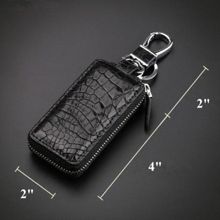 Crocodile and Alligator Leather Car Key Holder Zipper Case Wallet Keychain Bag-Size