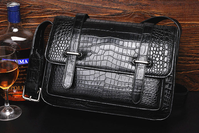 Crocodile and Alligator Skin Courier Bag