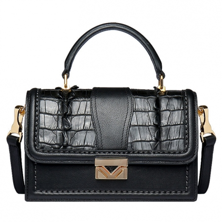 Designer Crocodile Purse, Top Handle Handbag Shoulder Bag-Black