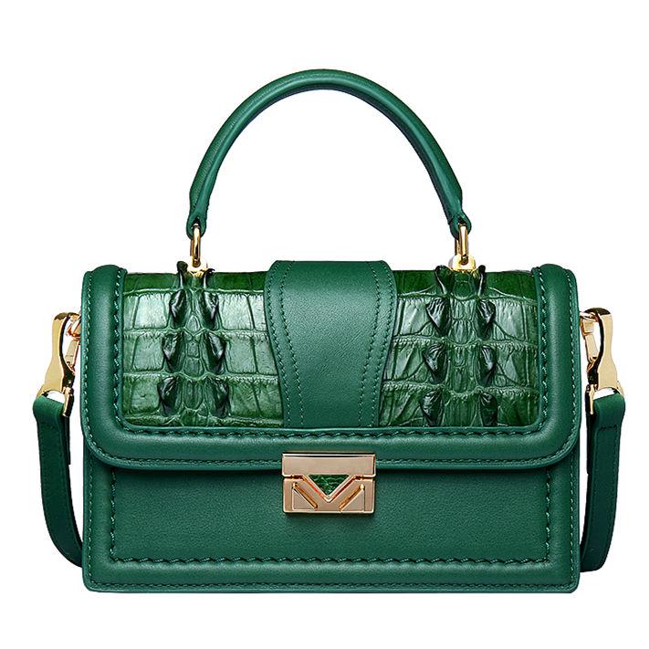 Designer Crocodile Purse, Top Handle Handbag Shoulder Bag