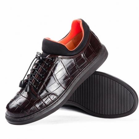 Fashion Alligator Sneaker, Luxury Alligator Sneaker for Men-Dark Brown