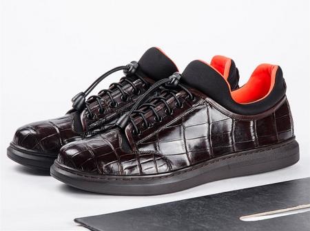 Fashion Alligator Sneaker, Luxury Alligator Sneakers for Men-Dark Brown