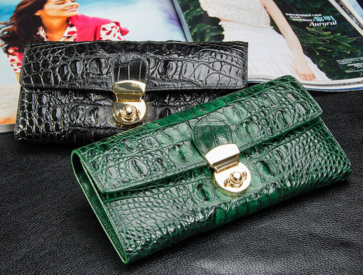 Lady's Crocodile Leather Clutch Long Purse Wallet-2