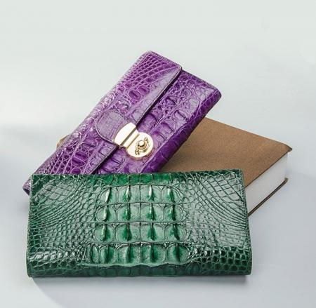 Lady's Crocodile Leather Clutch Long Purse Wallet-3