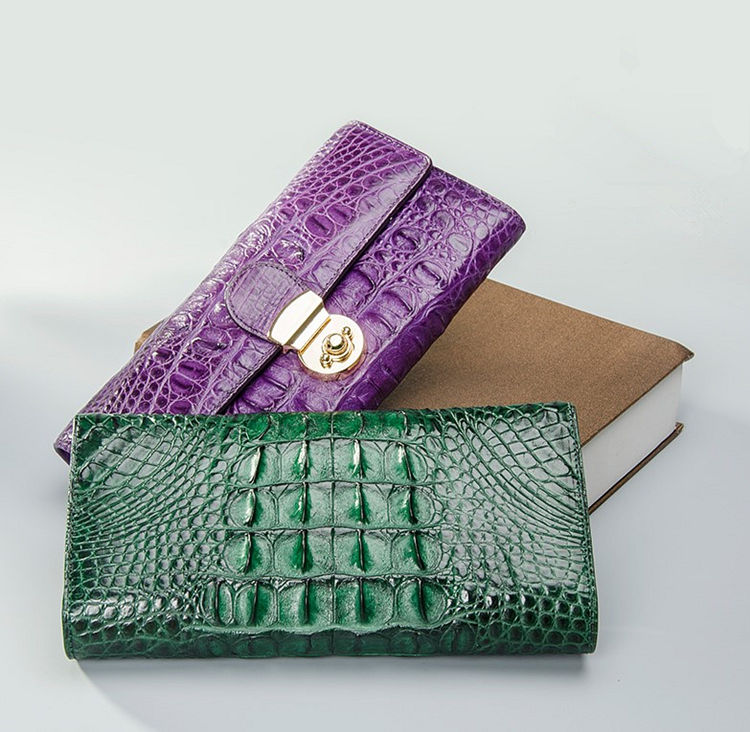 Lady's Crocodile Leather Clutch Long Purse Wallet-3