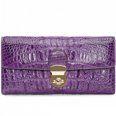 Lady's Crocodile Leather Clutch Long Purse Wallet