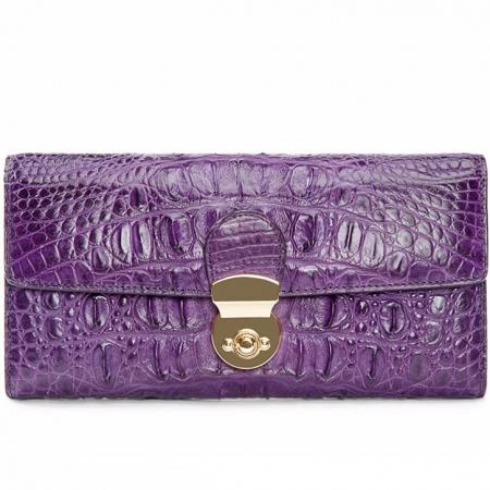 Lady's Crocodile Leather Clutch Long Purse Wallet