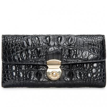 Lady's Crocodile Leather Clutch Long Purse Wallet-Black