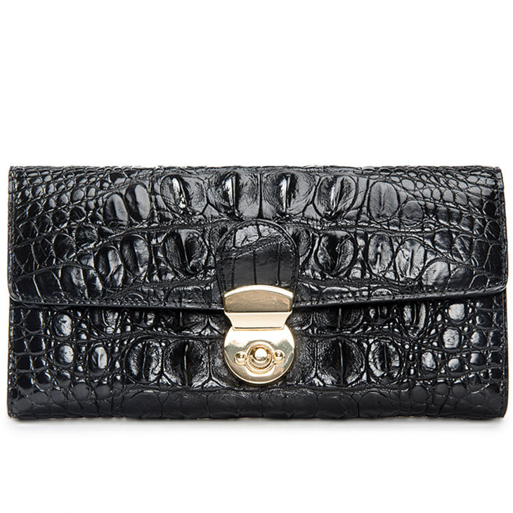 Lady's Crocodile Leather Clutch Long Purse Wallet-Black