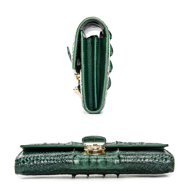 Lady's Crocodile Leather Clutch Long Purse Wallet-Details