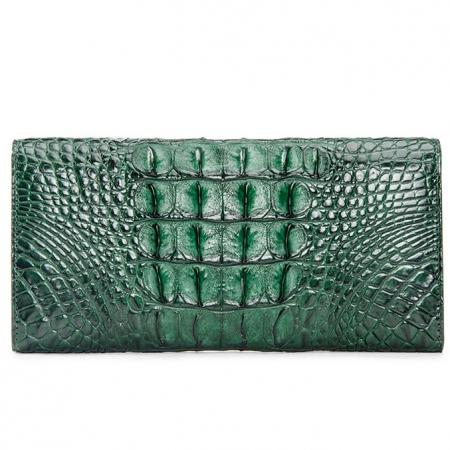 Lady's Crocodile Leather Clutch Long Purse Wallet-Green-Back