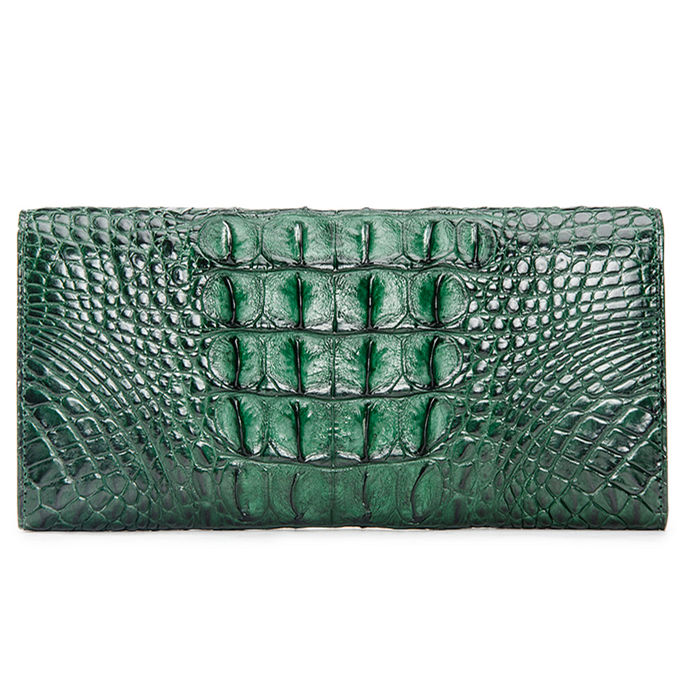Lady's Crocodile Leather Clutch Long Purse Wallet-Green-Back