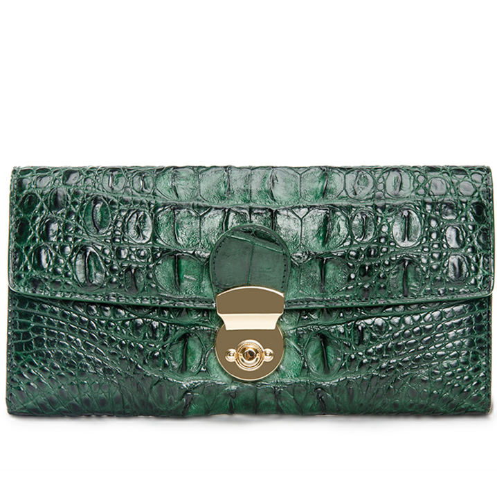 Lady's Crocodile Leather Clutch Long Purse Wallet-Green