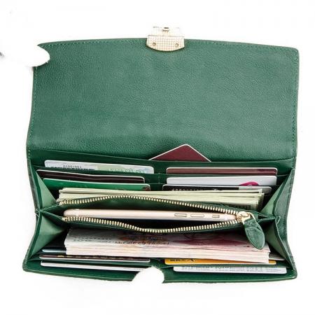 Lady's Crocodile Leather Clutch Long Purse Wallet-Inside