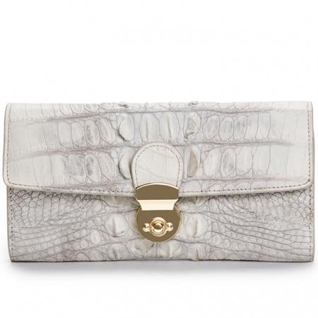 Lady's Crocodile Leather Clutch Long Purse Wallet-White