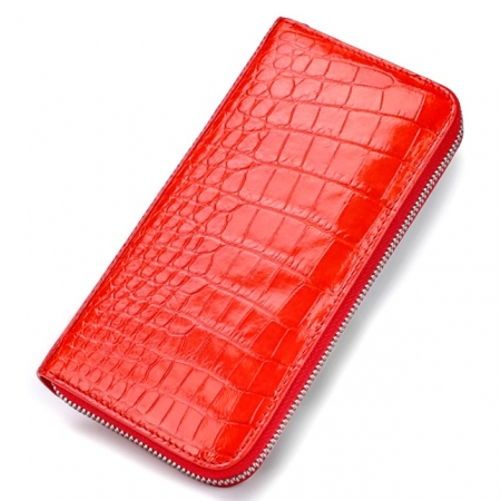 Large Capacity Alligator Skin Clutch Wallet-Red