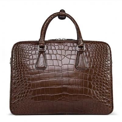 Alligator Business Bag, Alligator Leather Briefcase-Brown