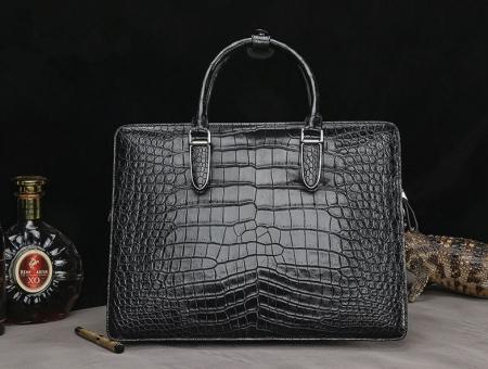 Alligator Leather Briefcase Messenger Bag Attache Case-Back