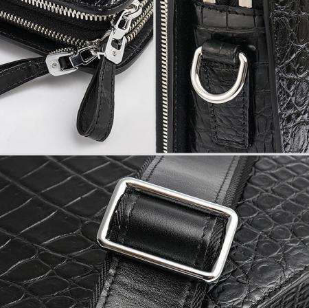Alligator Leather Briefcase Messenger Bag Attache Case-Details