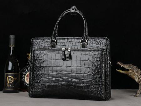 Alligator Leather Briefcase Messenger Bag Attache Case-Front