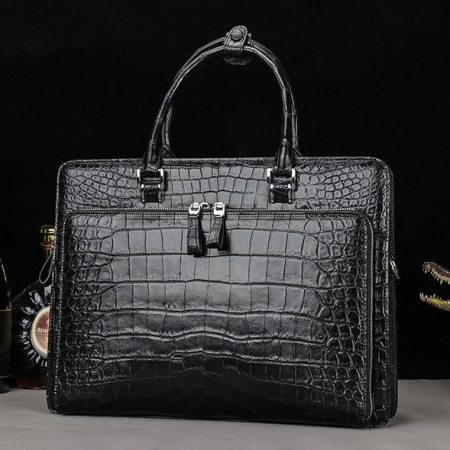 Alligator Leather Briefcase Messenger Bag Attache Case-Front
