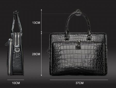 Alligator Leather Briefcase Messenger Bag Attache Case-Size