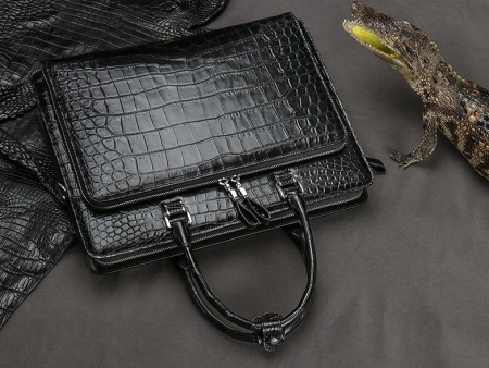 Alligator Leather Briefcase Messenger Bag Attache Case for Men