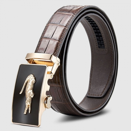 Alligator Leather Ratchet Dress Belt-Brown